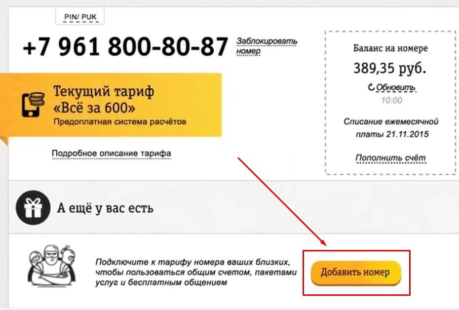 добавление номера к общему тарифу билайн